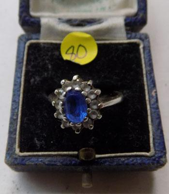 Vintage  blue stone ring in box