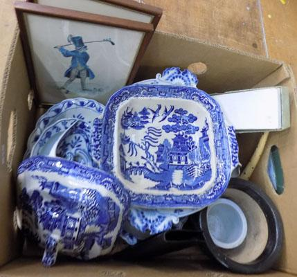Various ceramics, Wedgwood & pictures in box