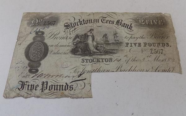 Five pounds Stockton Tees bank note 1882