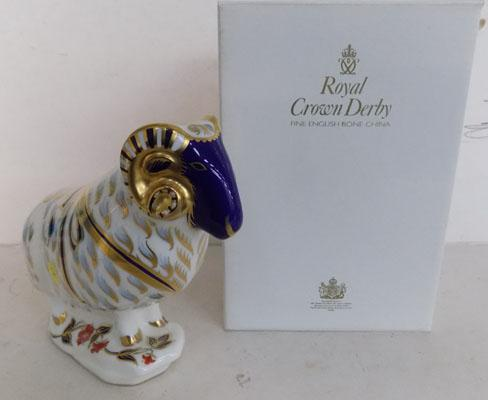 Royal Crown Derby Ram with gold stopper