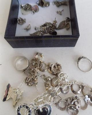 Selection of silver jewellery