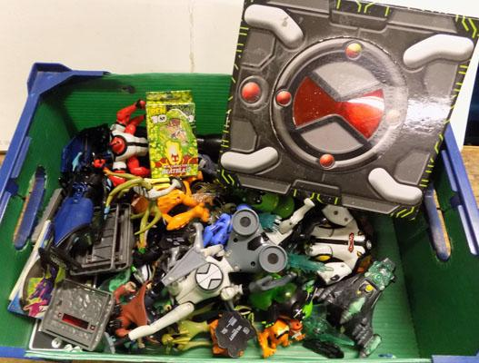 Box of Ben Ten figures/vehicles/cards etc