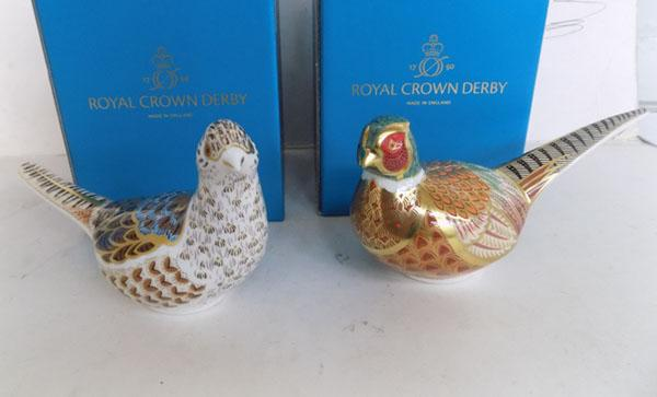 Royal Crown Derby pheasant cock & hen