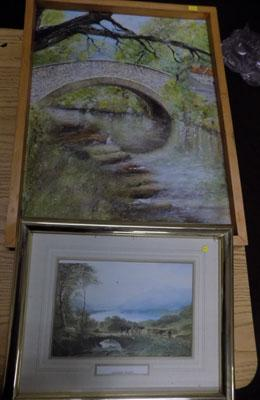 Print of Derwent Water & oil of bridge