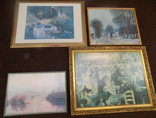4x Framed prints Sisley, Monet (2), Renoir