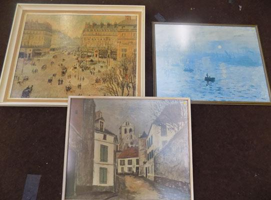 3x Framed prints-Monet, Utrillo, Pissarro