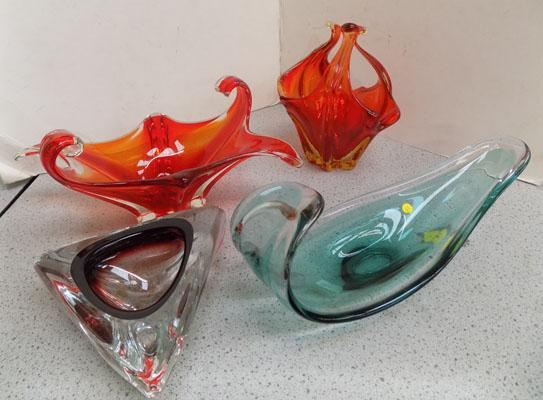 Four pieces of coloured glass