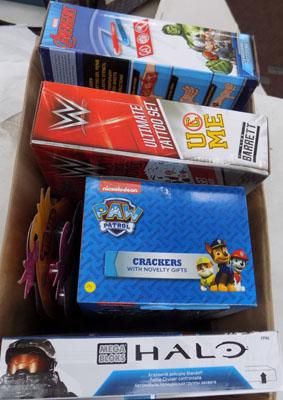 Mixed box of toys inc Paw crackers