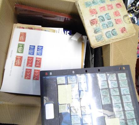 Large box of stamps, albums etc.