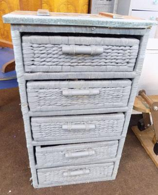 Wicker 5 drawer unit