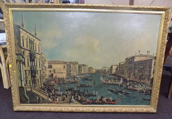 Very large gilt framed print by Canelletto 'Regatta on the Grand Canal'