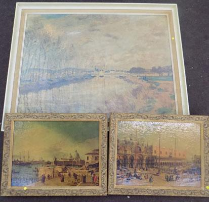 Pair of Canaletto prints & Monet print