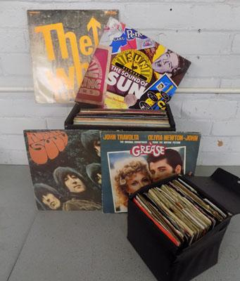 "Case of LP records and case of 7"" singles"