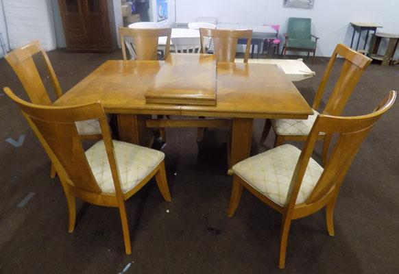 Large inlaid dining table and 6 chairs
