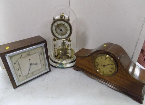 3x Clocks inc glass dome clock