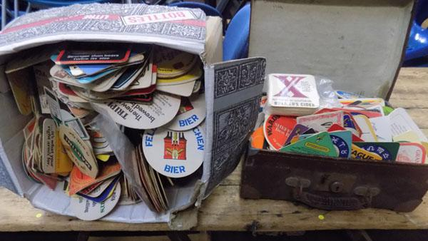 Vintage case & box of beer mats