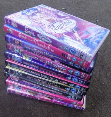 Selection of Barbie and Monster High DVD's