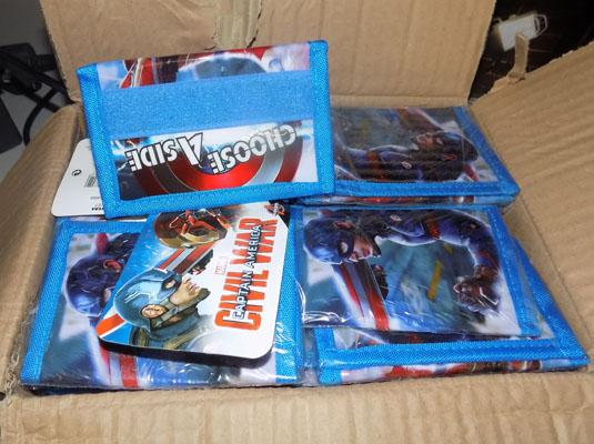 Box of new Marvel comic wallets