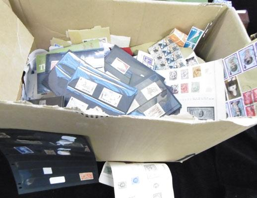 Box of stamps etc.
