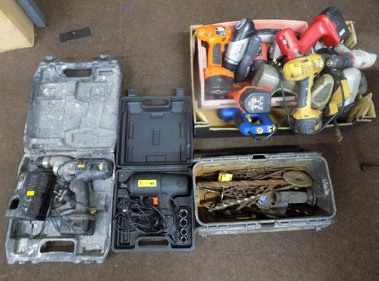 Large selection of cordless power tools etc
