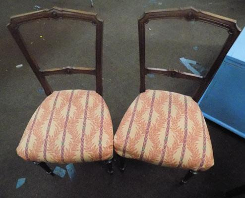 2 Edwardian Upholstered dining chairs
