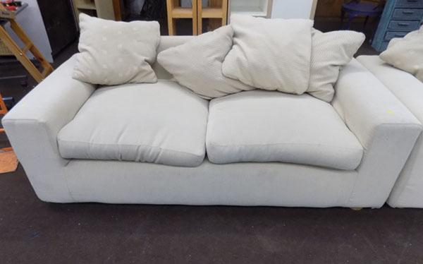 Large cream sofa