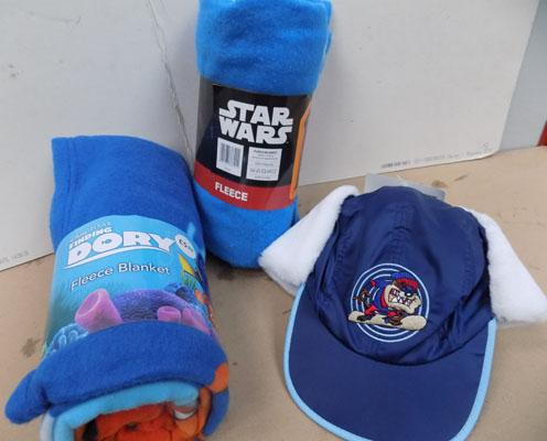 2 New fleece blankets - Dory, Star Wars and Looney Tunes fur lined Baseball cap with ear flaps