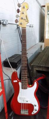 Encore Bass guitar and bag