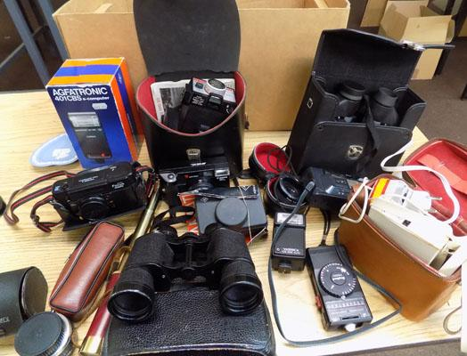 Box of cameras & binoculars