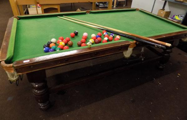 3/4 Size slate bed snooker table, balls & 2 cues