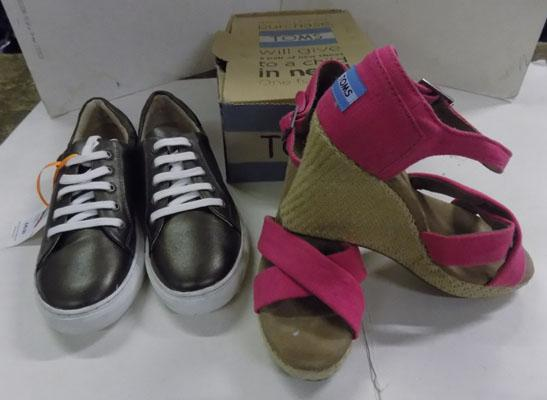Ladies Toms wedge shoes & John Lewis sneakers size 5
