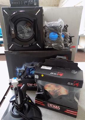 GX gaming speaker system, headphones & Saitek flight controller