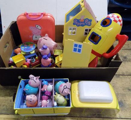Large amount of Peppa Pig vehicles/trains/figures/rocket etc