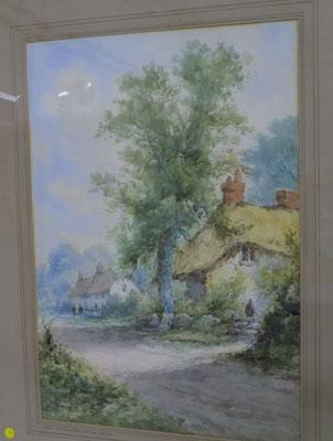 H Rawson watercolour of a Sussex village