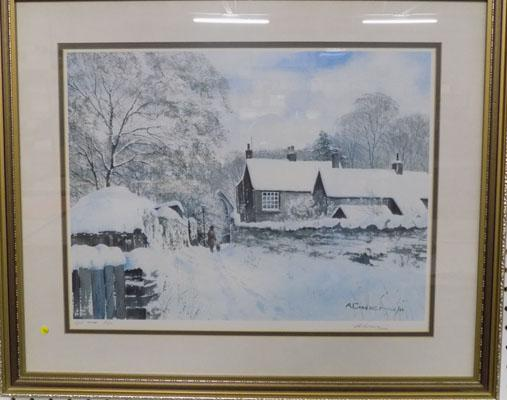 Arthur Craven 'Haworth parsonage in snow' signed LTD print no.2 of 15