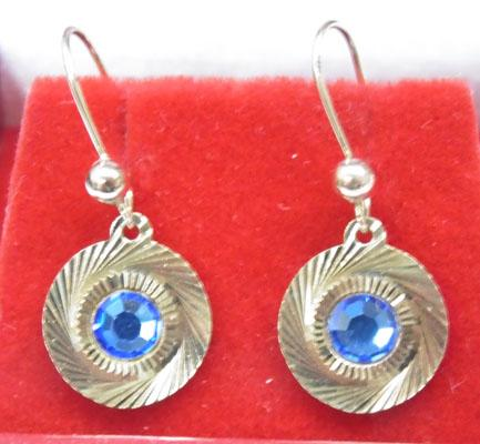9ct gold blue stone earrings