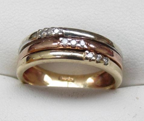 9ct yellow, white and rose gold and diamond ring size L