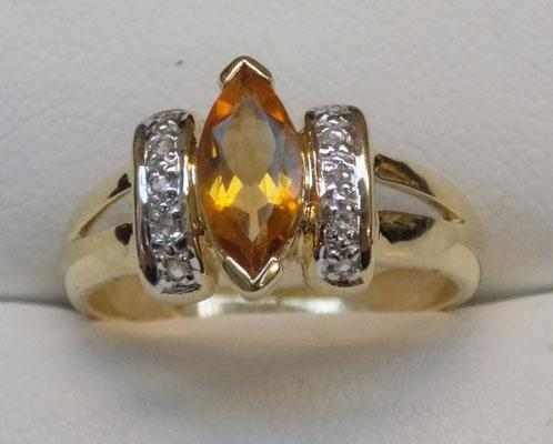 9ct gold, citrine & diamond ring, size N1/2