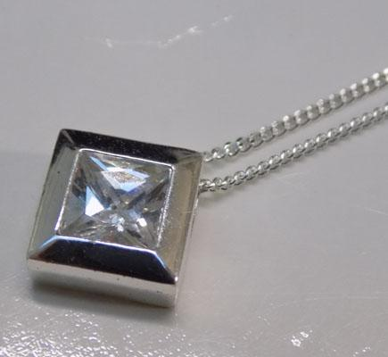 925 sterling silver CZ star necklace