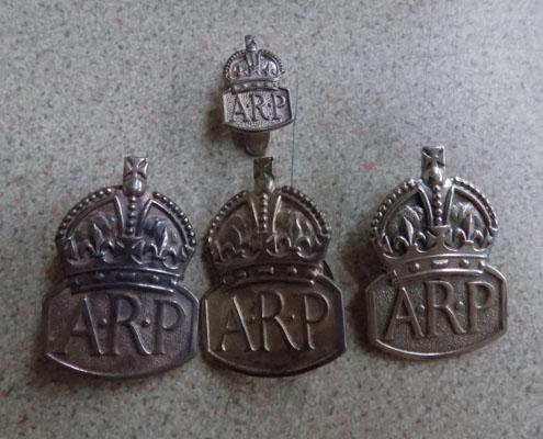 Collection of 4-ARP badges silver hallmarked 1904-37