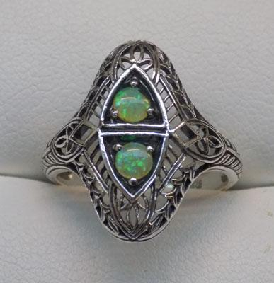 925 silver & opal vintage style ring, size M