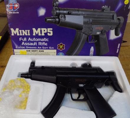 Mini MP5 air soft gun, fully automatic, batteries & ammunition included