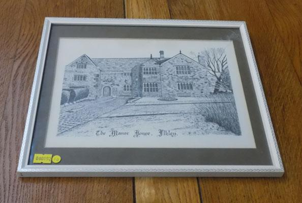 Framed picture of 'The Manor House', Ilkey