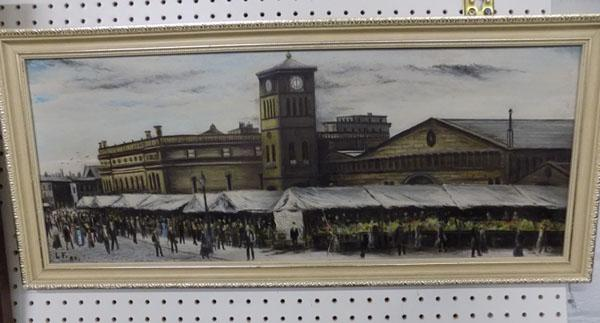Oil painting of market stalls