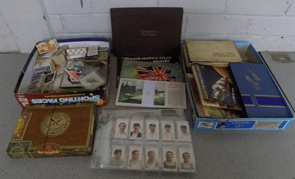 Two boxes of cigarette cards and others