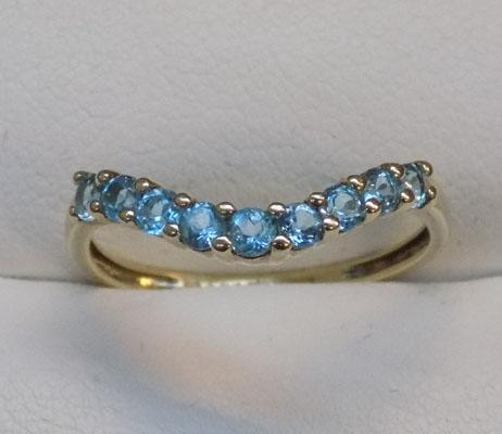 9ct gold QVC blue topaz ring, wishbone style, size P 3/4