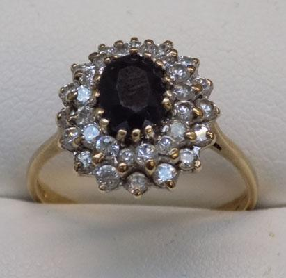 9ct gold large sapphire cluster ring, size R1/2