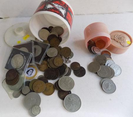 Two tubs of assorted coins
