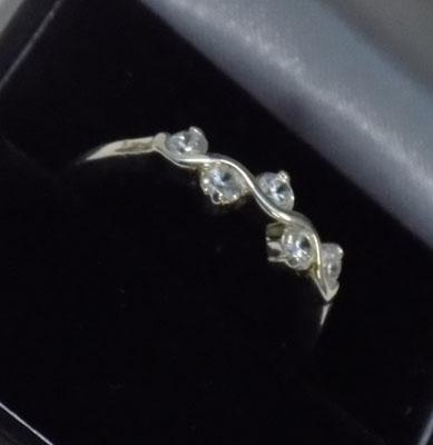 925 silver sparkling cz ring approx. size S