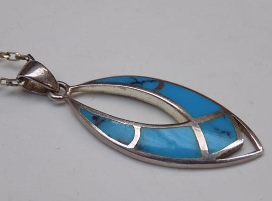 Unusual silver necklace - turquoise gemstone